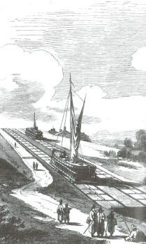Jedna z grafik - przedstawia pochylnię Kanału Elbląskiego...