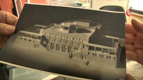 Tak - według pierwotnych planów - miał wyglądać budynek, w którym obecnie mieści się elbląski teatr... , fot. kadr z materiału filmowego z archiwum eŚwiatowid