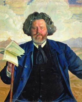 Maksymiliam Wołoszyn, portret autorstwa Borysa Kustodiewa (1924), źródło: Wikipedia